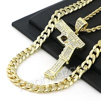 ICED OUT LARGE HAND GUN CHARM ROPE CHAIN DIAMOND CUT CUBAN CHAIN NECKLACE G63