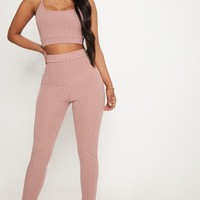 Shape Mocha High Waist Ribbed Leggings