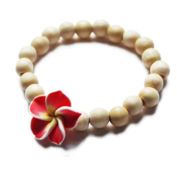 Wooden beads Plumeria Flower Bracelet