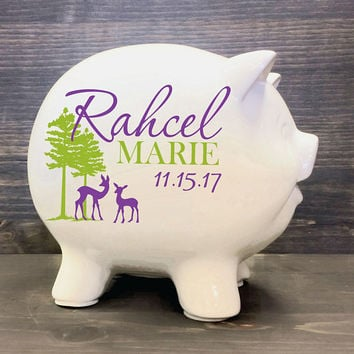 "Forest Animal Deer Custom Piggy Bank 5.5"" - Outdoors Theme Forest Nursery Decor, Newborn Baby Shower Gift, Personalized Kids Name Sign Gift"