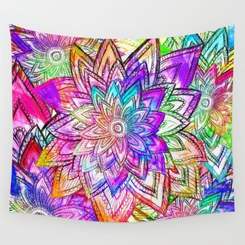 Psychedelic Neon Colorful Vintage Floral Pattern Drawing Watercolor Wall Tapestry by Girly Trend