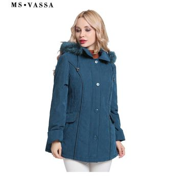 MS VASSA Jacket Women 2017 New Winter Coats Plus size 5XL 6XL detachable hood with fake fur turn-down collar ladies outerwear