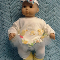 "AMERICAN GIRL Bitty Baby Clothes ""A Family of Ducks"" (15 inch) doll outfit dress leggings booties socks headband yellow ducklings H3"