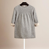 Check Detail Cashmere Dress
