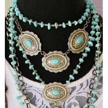 Three Concho Handcrafted Short Necklace