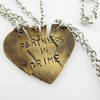 Heart Necklace Partners In Crime Hand Stamped Set Of Three