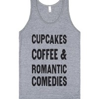 Cupcakes Coffee And Romantic Comedies (Tank)-Athletic Grey Tank
