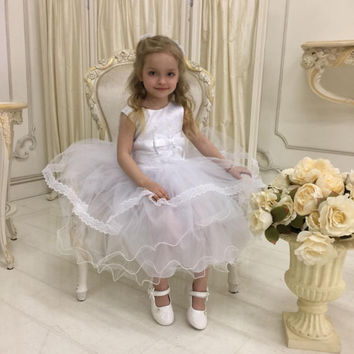 White Flower Girl Dress, Lace Write Flower Girl dress, Junior Bridesmaid Dress, Birthday Party Girl Dress, White Rustic Flower Girl Dress