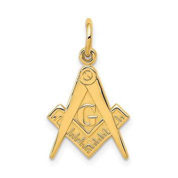14k Yellow or White Gold Masonic Symbol Charm or Pendant, 13mm