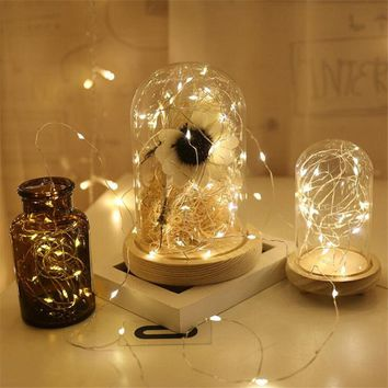 Silver Wire 1M 2M Led String Light  Fairy Garland Lamp LED String Lights Christmas Wedding Home Party Decoration