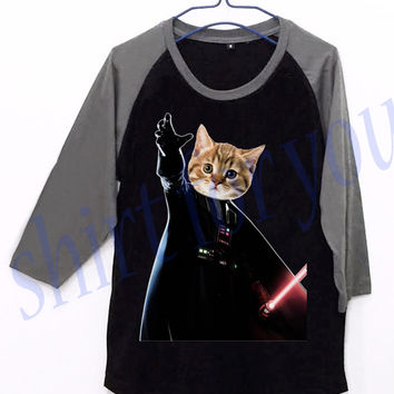 Cat Vader Darth Star Wars Unisex Men Women Black Long Sleeve Baseball Shirt Tshirt Jersey