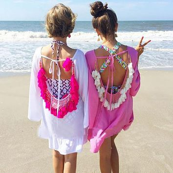 Women Summer Dress 2017 Sexy Backless Tassels Pareo Vestidos Woman Sexy Beach Tunic Dress Plus Size Party Dresses Boho Dresses