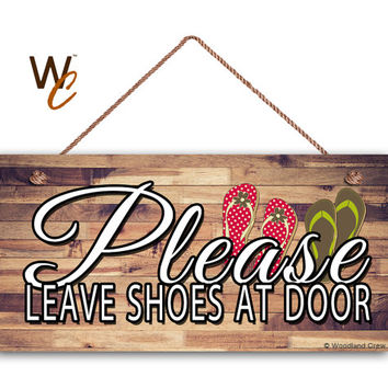 "Please Leave Shoes At Door Sign, Beach Flip Flops Sign, Weatherproof, 5"" x 10"" Sign, Remove Shoes Door Sign, Sign For Guests, Made To Order"