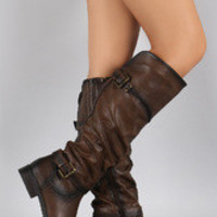Women's Crinkled Double Buckle Slouchy Riding Knee High Boot