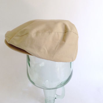 Beige Driving Cap - Tan Golf Hat - Newsie - Size Large - Made in USA - Kangol Design