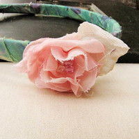 Pink Green  Fabric Wrapped Headband Recycled Fabric Flower Handmade Flower