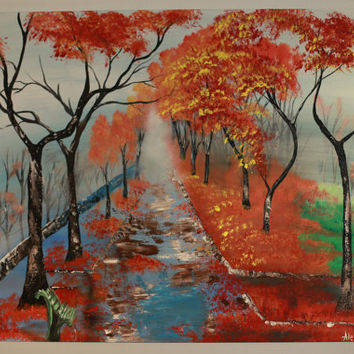 Autumn Landscape Acrylic Painting on Canvas / Tree Painting on Canvas / Acrylic Painting / Autumn Tree Painting