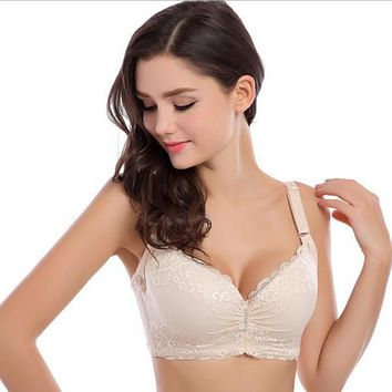 Embroidery Lace Crochet Bra Back Closure Lingerie Ultra Boost Push-Up Padded Bras   Women