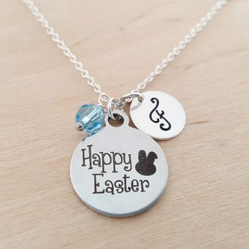 Happy Easter Necklace - Easter Bunny Necklace - Initial Necklace - Personalized Necklace - Sterling Silver Jewelry - Gift for Her