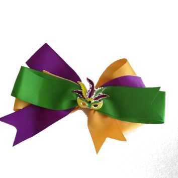 Mardi Gras Hair Bow with Mask Centerpiece