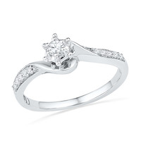 1/6 CT. T.W. Diamond Swirl Frame Promise Ring in 10K White Gold