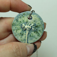 Essential Oil diffuser Aromatherapy pendant Dandelion bloom blue green