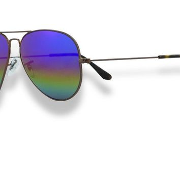 Ray Ban Aviator Unisex Sunglasses Dark Bronze_Rainbow Mirror 2 3025 9019C2 62mm
