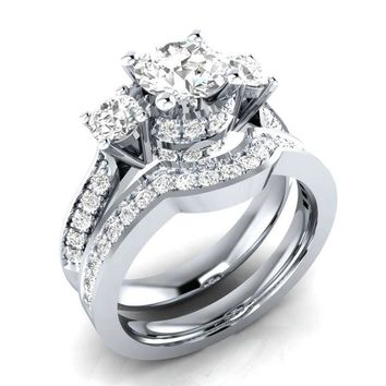 Coppe Rings Set Cubic Zirconia Engagement Wedding Ring