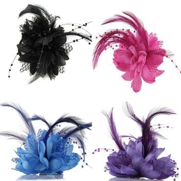 Hot Women Ladies Flower Feather Bead Corsage Hair Clips Fascinator Bridal Hairband Brooch Pin S4