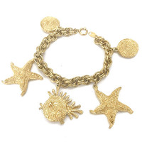 Trifari TM Charm Bracelet, Starfish Fish and Shell Motif Charms, Cruise Wear, Heavy Gold Plated Metal, Metal Hang Tag, Vintage Gift for Her