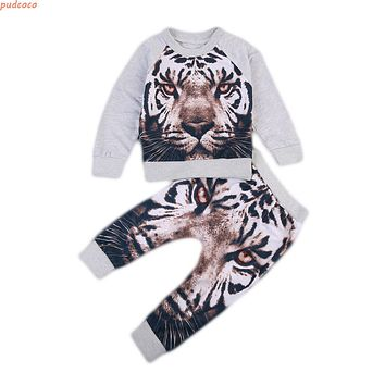 2PCS Baby Clothes Warm Autumn Kids Boy Girls Clothing Sets Lovely Soft Toddler Kids Tiger Print Sweater Autumn Spring Outfits