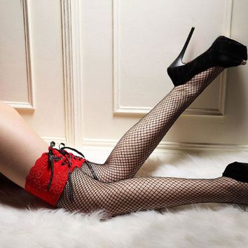 Stockings Sheer Straps Lace Fishnet Mesh Top Thigh High