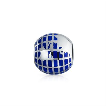 Blue Travel Lover Earth World Map Globe Charm Bead Sterling Silver