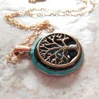 tree of life necklace: aqua blue and black - wiccan pendant - celtic jewelry - tree necklace - nature necklace - unique gift