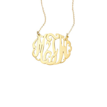 Personalized Cursive Script Initials Necklace