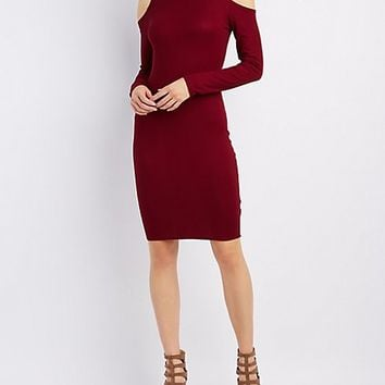 Ribbed Mock Neck Cold Shoulder Dress