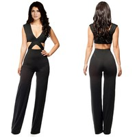 Sexy Womens Black Deep V Neck Sleeveless Cut Out Jumpsuit Romper Clubwear