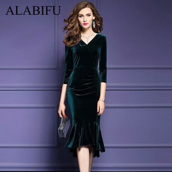 ALABIFU 2018 Winter Women Dress Elegant Vintage Plus Size Mermaid Velvet Dress Sexy Slim Bodycon Long Party Dress ukraine 3XL