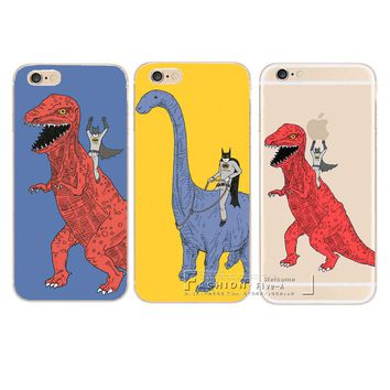 New Arrive Fashion Dinosaurs and batman Phone Case Cover For Apple iPhone 8 X 4 4S 5 5S SE 5C 6 6S 7 Plus 6SPlus