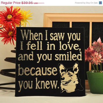 ThanksABunch - SALE - Saw you I fell In Love - Corgi -Unique Canvas Art, wall decor, wall art, Custom Dog Breed, Pet Art
