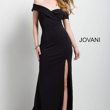 Black fitted long off the shoulder sweetheart neckline scuba evening dress.