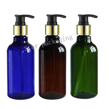 30pcs 250ml green brown blue lotion bottle whith gold pump,shampoo containers for cosmetic packaging with liquid soap dispenser