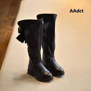 2017 Winter children's shoes Princess Martin boots Girls plush over-the-knee boots Kids warm fashion leather boots Bow Black