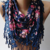 Scarf with Lacy Edge Scarf Shawl.....Dark Blue - Pink - Flowered