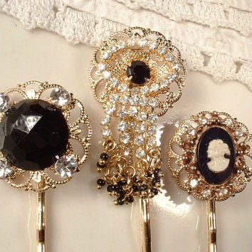 Vintage Black Rhinestone Gold Bridal or Bridesmaids Hair Pins - Gold Plated Heirloom Jeweled Hair Clips. Set of 3 Bobby Pins