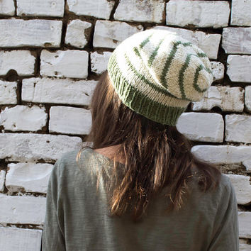 Striped Slouchy Hat, White Hat, Sage Green Hat, Pure Wool Hat