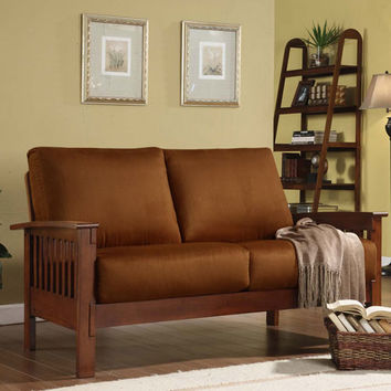 HomeHills 229912-2RU Mission Oak Loveseat with Rust Microfiber