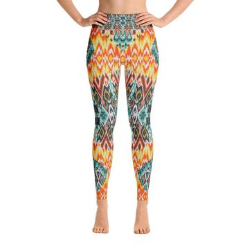 YOGA ART LEGGINGS W/ Raised Waistband - SUNBURST