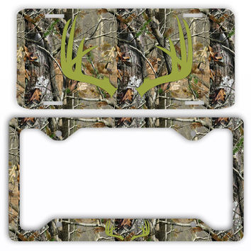 Green Antlers Camo Deer License Plate Frame Car Tag Country Hunting