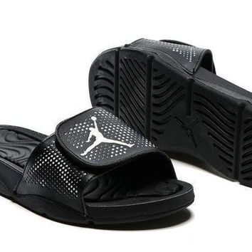 PEAPGE2 Beauty Ticks Nike Jordan Hydro V Retro Black Sandal Sandals Slipper Shoes Size Us 7-11